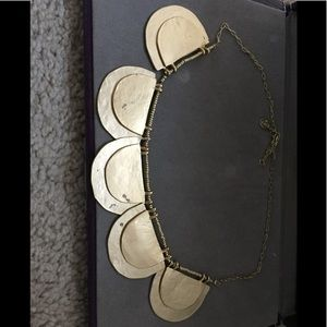 Ann Taylor LOFT gold hammered disc necklace